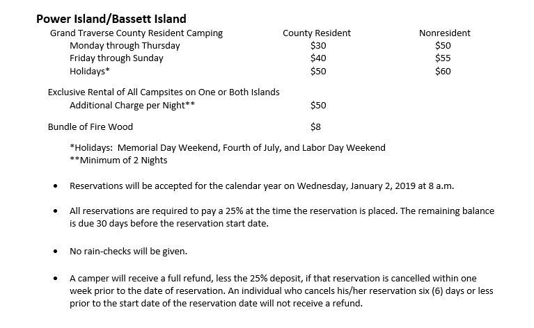 2019 Power Island Fees