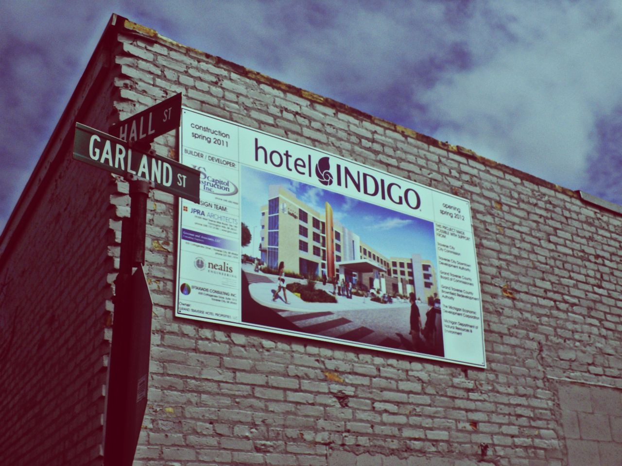 Future Hotel Indigo Sign on Building Wall